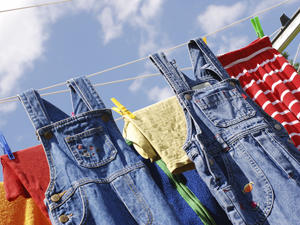 Picture of clothes line with drying kids clothes